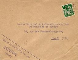 17- 8-40 - Enveloppe Affr. IRIS 1 F. Vert  Oblit. De Fortune Manuscrite Troisvilles  / 17-8-40 - Marcophilie (Lettres)