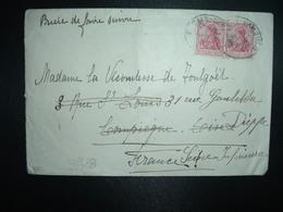 LETTRE TP GERMANIA CASQUE 10 X2 OBL. AMBULANT 14 8 11 BERLIN - HAMBURG à VICOMTESSE DE TOULGOET à COMPIEGNE 60 DIEPPE 76 - Allemagne