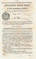1851 REGNO DELLE DUE SICILIE DECRETO PALAGIANELLO - Décrets & Lois