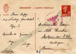 Très RARE  - 21-12-43 - C P E P 20 Ore De Norvège D'un S T O  Pour Montpont ( Dordogne ) - Marcophilie (Lettres)