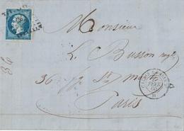 NORD - LILLE - LETTRE AVEC TEXTE POUR PARIS - EMPIRE N°14 OBL.LOSANGE AMBULANT CP2° - CALAIS A PARIS 2° H - 27-2-1860. - 1849-1876: Classic Period