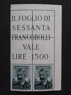 """ITALIA Repubblica -1954- """"Catalani"""" £. 25 Filigrana Lettere 10/10 Varieta' MNH** (descrizione) - 1946-60: Neufs"""
