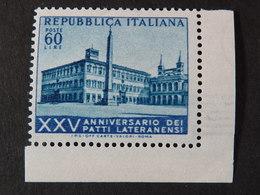 """ITALIA Repubblica -1954- """"Patti Lateranensi"""" £. 60 Filigrana Lettere 11/10 Varieta' MNH** (descrizione) - 6. 1946-.. Republik"""