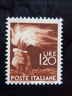 """ITALIA Repubblica -1945- """"Democratica"""" £. 1,20 Filigrana Lettere 12/10 Varieta' MNH** (descrizione) - 6. 1946-.. Republik"""