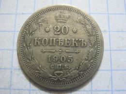 Russia , 20 Kopeks 1905 СПБ АP - Russia