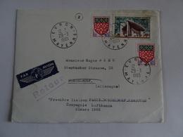Lettre Par Avion EVRON MAYENNE  DUSSELDORF 1965  TBE - Marcophilie (Lettres)