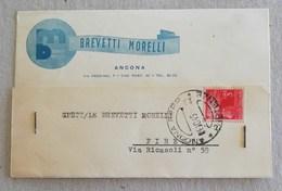 """Cartolina Postale Con Testata Pubblicitaria """"Brevetti Morelli"""" Ancona Per Firenze - 04/10/1946 - 6. 1946-.. Repubblica"""