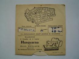 DISQUE STATIONNEMENT AUTOMOBILE 1960 : ORAN - ALGERIE / MACHINE A COUDRE HUSQVARNA - Reclame