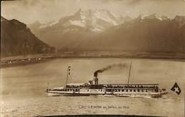 025 423- CPA - Thèmes - Bateaux - Paquebots - Lac Léman Et Dents Du Midi - Paquebots