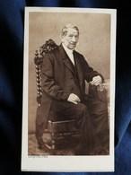 Photo CDV Langrené à Strasbourg -  Homme âgé Assis, Bourgeoisie, Notable Second Empire Ca 1860 L300 - Photos