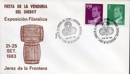 Espagne España 1983 09 21 Vin, Exposition Philatélique Thématique Jerez De La Frontera, Fûts De Chêne, Sherry - Vins & Alcools