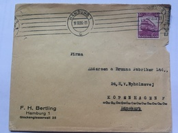 GERMANY 1935 Cover Hamburg To Copenhagen Tied With 40pf Railway Centenary - `F.H. Bertling` - Allemagne