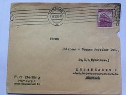 GERMANY 1935 Cover Hamburg To Copenhagen Tied With 40pf Railway Centenary - `F.H. Bertling` - Germania