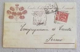 """Cartolina Postale Pubblicitaria """"Società Lodigiana Lavori In Cemento"""" Lodi Per Fermo - 13/07/1905 - 1900-44 Vittorio Emanuele III"""