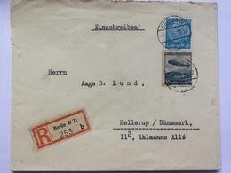 GERMANY 1937 Cover Registered Einschreiben Berlin To Hellerup Denmark Tied With Zeppelin 50pf - Briefe U. Dokumente