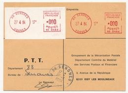 FRANCE - Mise En Service Machine SATAS De 88-SENONES (Vosges) Le 27/4/1984 - EMA (Printer Machine)