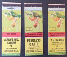 3 États Unis Matches Matchbox Tennis Lawrence  Rossville Lexington Etc.   #Werbe1790 - Boites D'allumettes