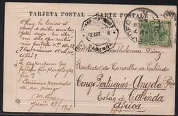 URUGUAY - POSTCARD MONTEVIDEO 1908 To CABINDA CONGO - KA08 - Portuguese Congo