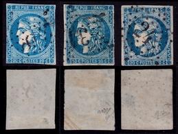 France N° 45B étoile 8 + 45A + 46B Obl. étoile (RARE)  Signés Calves - Cote 900 Euros - 1870 Emission De Bordeaux
