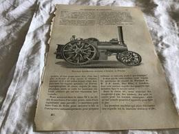 Une Page Du Livre Les Merveilles De L'exposition Nouvelle Locomotive Routière D Aveling Et Porter - Vieux Papiers