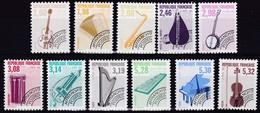 Frankreich, 1992,  2871/81, MNH **,  Vorausentwertung: Musikinstrumente. - Unused Stamps
