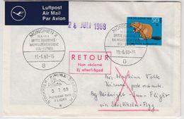 BRD - Midnight Sun Flight Stockholm-Kiruna-Stockholm Lupo-Brief SST München 1968 - [7] Federal Republic