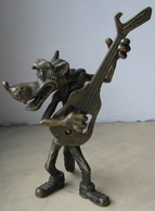 USSR Soviet Russia Bronze Figurine Opener Wolf With A Guitar Well, Wait A Minute! Bronze, Brass Nimor ChSZ Nikolaev - Figurines
