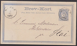 HAMAR Norge 5 Oere Posthorn Ganzsache Aus 1881 - Ganzsachen