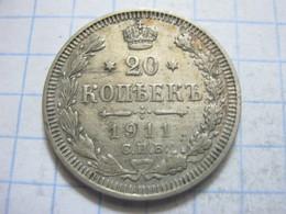 Russia , 20 Kopeks 1911 СПБ ЭБ - Russia