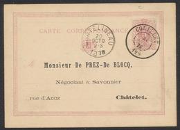 """EP Au Type 5ctm Mauve Obl Double Cercle """"Couillet"""" > Chatelet / Verso Repiquage PUB """"Savonnerie & Vinaigrerie, Eaux De V - Cartes Postales [1871-09]"""