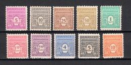 FRANCE  N° 620 à 629  NEUFS SANS CHARNIERE  COTE  39.50€    ARC DE TRIOMPHE - 1944-45 Arc De Triomphe