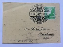 GERMANY 1938 Piece Mulheim To Bruanschweig With `Gebiets Fuhrerlager` Sonderstempel - Lettres & Documents