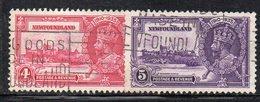 700 490 - NEWFOUNDLAND TERRANOVA 1935, Yvert N. 201+202  Usato (M2200) . Giubileo - Terre-Neuve
