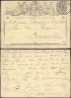 """EP Au Type 5ctm Brun """"carte-correspondance"""" Obl Double Cercle """"Iseghem"""" (1872) > Bruxelles. - Postales [1871-09]"""