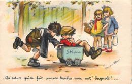 """BOURET Germaine : HAMEL : Enfants Jouant Avec Une """"voiture""""- état (un Coin Plié) - Bouret, Germaine"""
