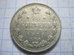 Russia , 20 Kopeks 1913 СПБ BC - Russia