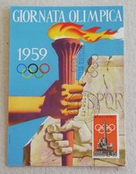 """Cartolina Postale """"Giornata Olimpica 1959"""" Timbro Comitato Organizzatore Roma - 29/09/1959 - 6. 1946-.. Repubblica"""