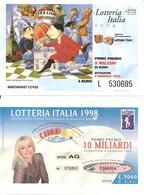 2 Biglietti LOTTERIA ITALIA 2004 Abbinata A AFFARI TUOI E LOTTERIA ITALIA 1998 Abbinata A CARRAMBA! CHE FORTUNA - Billets De Loterie