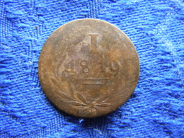 GERMANY FRANKFURT 1 PFENNIG 1819, KM Tn5 - [ 1] …-1871 : German States
