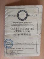 CARTE D'IDENTITE D'ETRANGER REPUBLIQUE FRANCAISE TRAVAILLEUR FORESTIER +CONTRAT DE TRAVAIL+VISA - Vieux Papiers