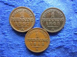 GERMANY PREUSSEN 1 PFENNING 1867A, 1868 A,B, KM480 - [ 1] …-1871 : German States