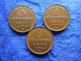 GERMANY PREUSSEN 3 PFENNING 1867A,B, 1868C, KM482 - [ 1] …-1871 : German States