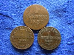 GERMANY SACHSEN 1 PFENNIG 1833 Cleaned KM1132, 1865, 1871 KM1216 - [ 1] …-1871 : German States