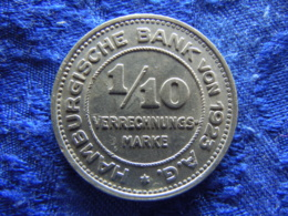 NOTGELD HAMBURG 1/10 VERRECHNUNGSMARKE 1923, KM Tn3, Aluminum - Noodgeld