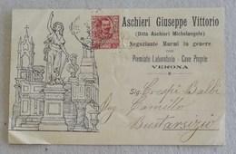 """Cartolina Postale Pubblicitaria """"Aschieri Giuseppe Vittorio"""" Negoziante Marmi In Genere Verona Per Busto Arsizio - 21/09 - Storia Postale"""