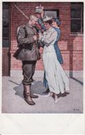 Pat. 27Vor Der Abfahrt Nr. 8 (Kriegspostkarten Von B. Wennerberg) (links En Rechts Boven Een Minuscule Vouw) - Humoristiques