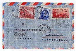 1950 YUGOSLAVIA,CROATIA,RIJEKA,FIUME TO VANCOUVER,CANADA,REGISTERED, AIRMAIL STATIONERY COVER,USED - Airmail