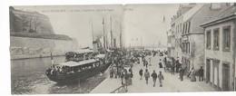 56 BELLE ILE EN MER Carte Double Le Palais L'avant Port Départ Du Vapeur Animation 1904......G - Belle Ile En Mer