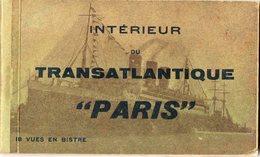 """Intérieur Du Transatlantique """" PARIS """" ( Carnet Complet De 18 Cartes ) - Passagiersschepen"""