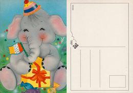 Illustration, éléphant Avec Chapeau, Drapeau Et Cadeau. European Greetings Série 531202 - Éléphants